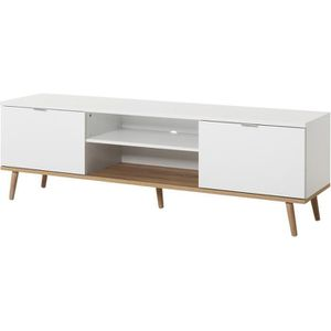 MEUBLE TV GÖTEBORG Meuble TV scandinave blanc - L 160 cm
