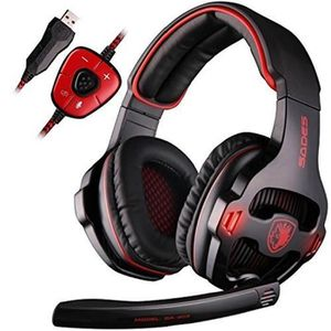 CASQUE AVEC MICROPHONE SA903 Gaming Headset 7.1 Surround Sound USB PC Ord