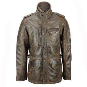 BLOUSON Mens cuir véritable Vintage Décontractée Brown Sty