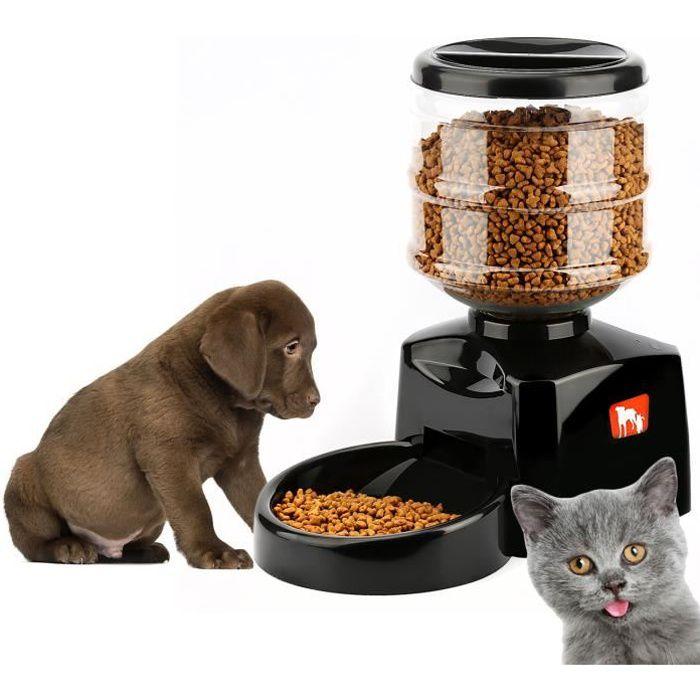 Tera® Distributeur automatique programmable de nourriture 5,5L avec enregistrement vocal pour chien, chat (1-3 repas par jour)