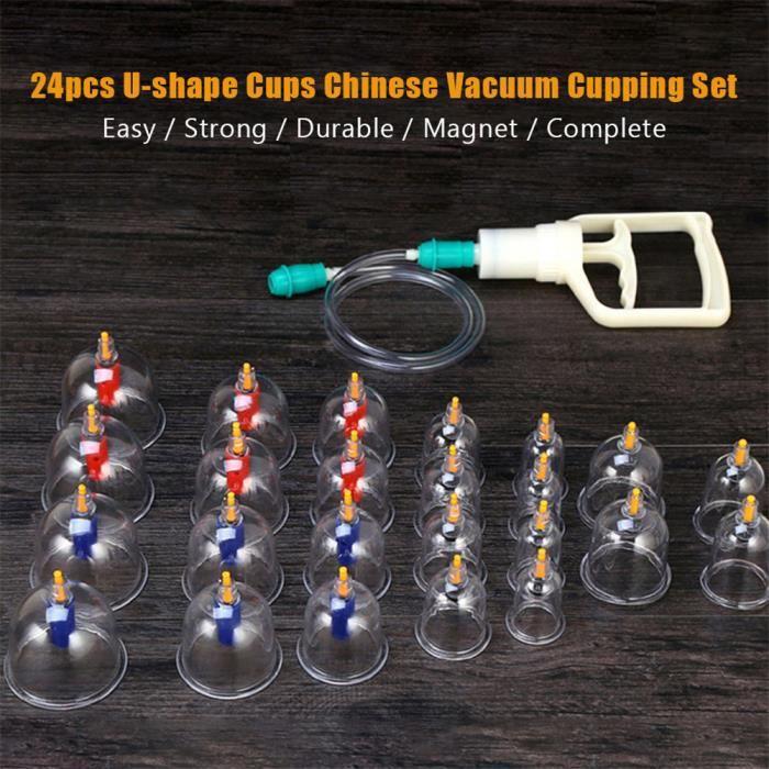 Jeu de ventouses chinoises sous vide, une combinaison de ventouses de thérapie chinoise réutilisable 24pcs améliorent la circulat