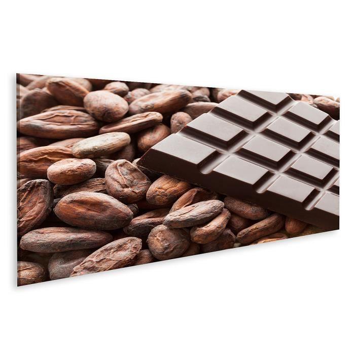 Tableau sur toile Tablette de chocolat aux fèves de cacao brutes Taille: 120x40cm - Panorama