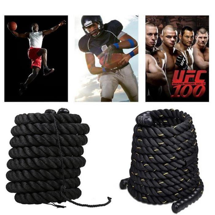 Corde de sport longueur 12M diamètre de 38MM câble bataille avec poignées en caoutchouc fitness et musculation - noir