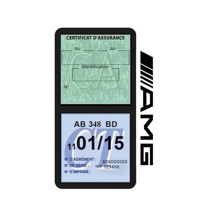 Double porte vignette assurance AMG sticker adhésif couleur Noir