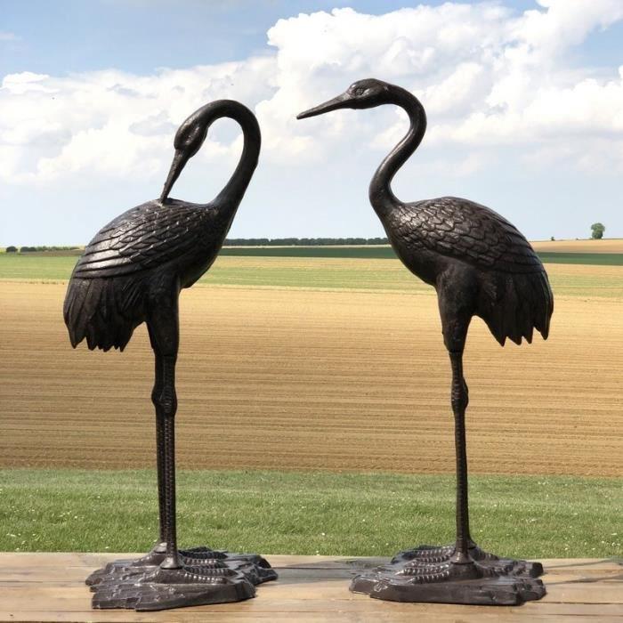 Couple de Héron Oiseaux Décoration Jardin d'Extérieur Fonte Alu Marron 75 cm x 35 cm - 10991-10993-Heron-Bis