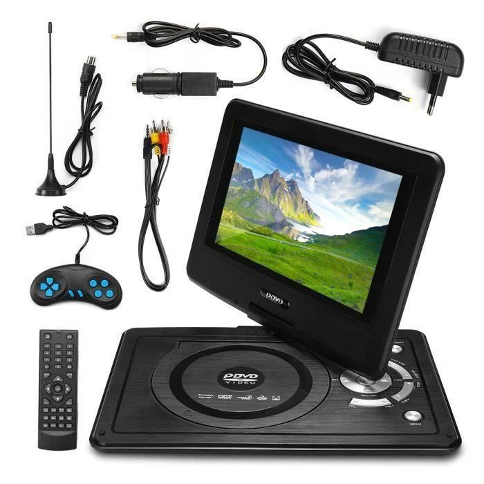 JIE Lecteur DVD Portable Écran 8.8'' Rotatif USB SD MP4 MP3 MS MMC TV AV SVC VCD CD CD-R RW