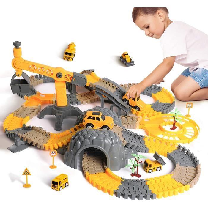 MARSEE Ensemble de circuits de course, véhicules de construction, trains flexibles avec camions, voitures électriques,cadeau de Noël