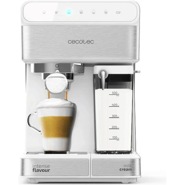 Cecotec Machine à café Semi-automatique Power Instant-ccino 20 Touch Serie Bianca. 20 bars de Pression, 1.4 L, 6 Fonctions , Chauffa