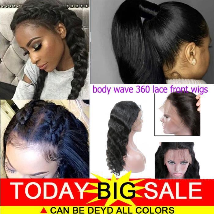 perruque bresilienne femme 360 lace wig REMY 12pouces=30cm 100% cheveux naturels humains 150% densité body wave