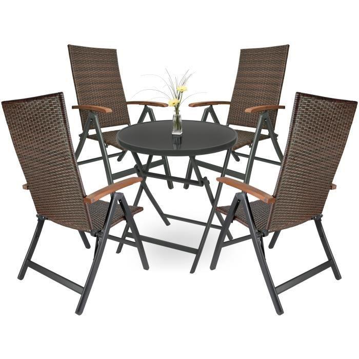 BRUBAKER Salon de Jardin Modena - 1 Table Pliante en Verre Ronde de 70 cm Ø avec 4 Chaises à Dossier Haut - Métal - Gris-Brun