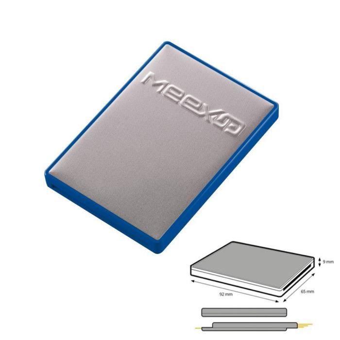 Etui 4 Cartes MeexUp RFID - Porte Carte Rigide anti piratage CB - Bleu Argent