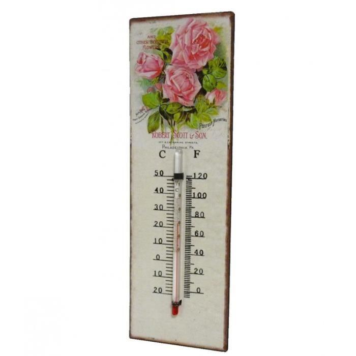 Thermomètre Mural Décoratif en Celsius et Farenheit ou à Poser Motif 'Floral Vintage' en Fer et Papier Vernis 0,5x8x25cm