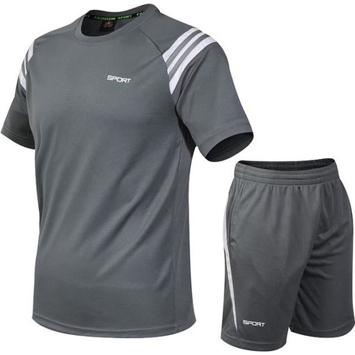 Ensemble de Vetements de Sports Homme Grand Taille T-Shirt Manches Courte+Shorts Sports de balle-Jogging