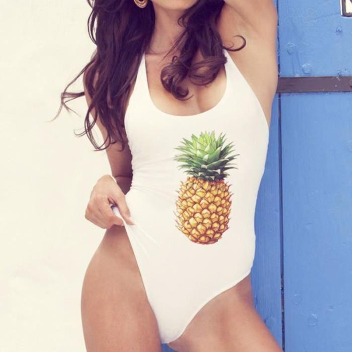 Maillot de bain une pièce de vacances à imprimé ananas pour filles MAILLOT DE BAIN DE NATATION - MAILLOT DE BAIN SURFWEAR