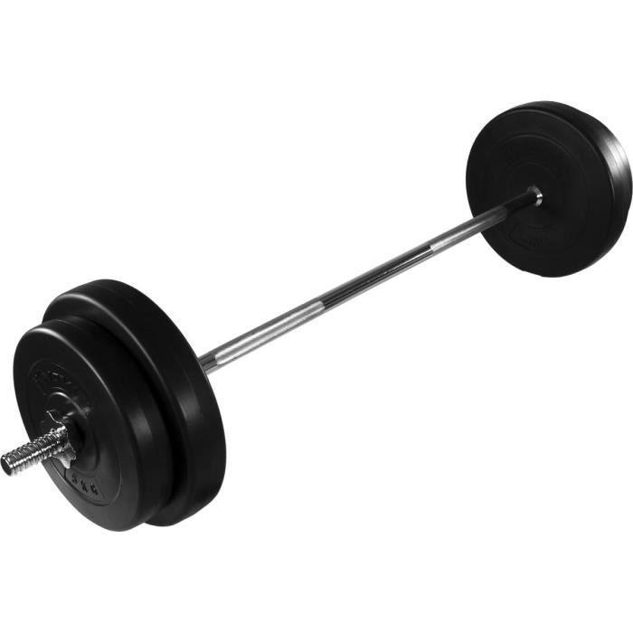 MOVIT® Haltère long de 30 kg - 121,5 cm (2 x 5 kg + 2 x 7,5 kg) Noir