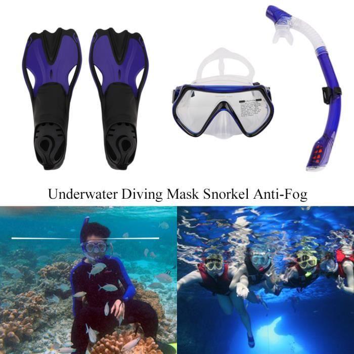 Set de plongée palmes masque de plongée anti-buée avec tuba - M