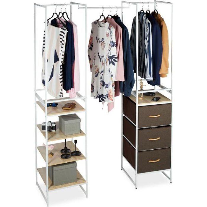 Relaxdays Système d'étagère porte-vêtements avec barre, extensible, garde-robe H x L x P: 100 x 43 x 46,5 cm, blanc