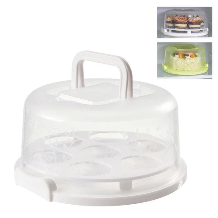 Moule à gateaux Couverture de support de gâteau avec couvercle plat de service à dessert Porte-cupcake,blanc