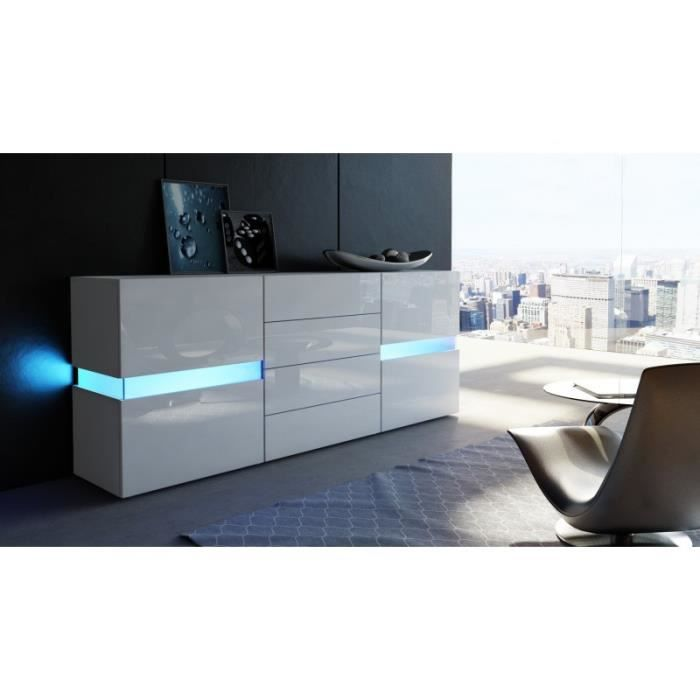 buffet design blanc enti rement laqu avec led 177 cm achat vente buffet bahut buffet. Black Bedroom Furniture Sets. Home Design Ideas