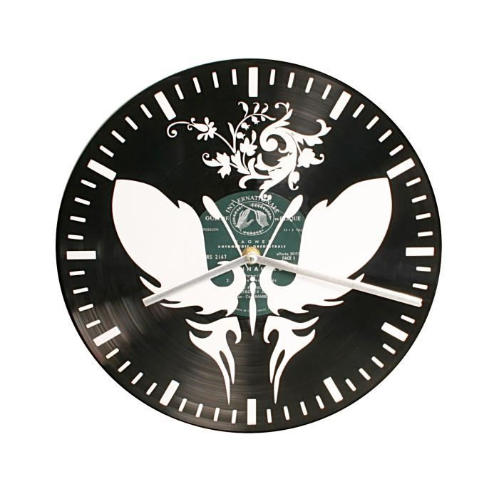 horloge pendule murale papillon naif ornemental disque vinyle achat vente horloge cdiscount. Black Bedroom Furniture Sets. Home Design Ideas