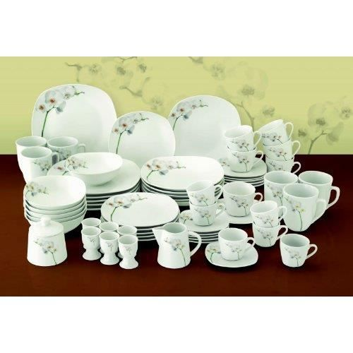 set de vaisselle assiette tasse en porcelaine 124 pcs orchidee achat vente assiette. Black Bedroom Furniture Sets. Home Design Ideas