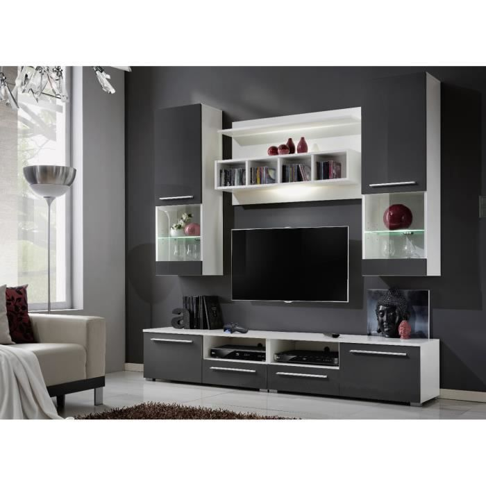 Ensemble tv mural design high gloss gris et blanc achat for Meuble tv mural gris et blanc