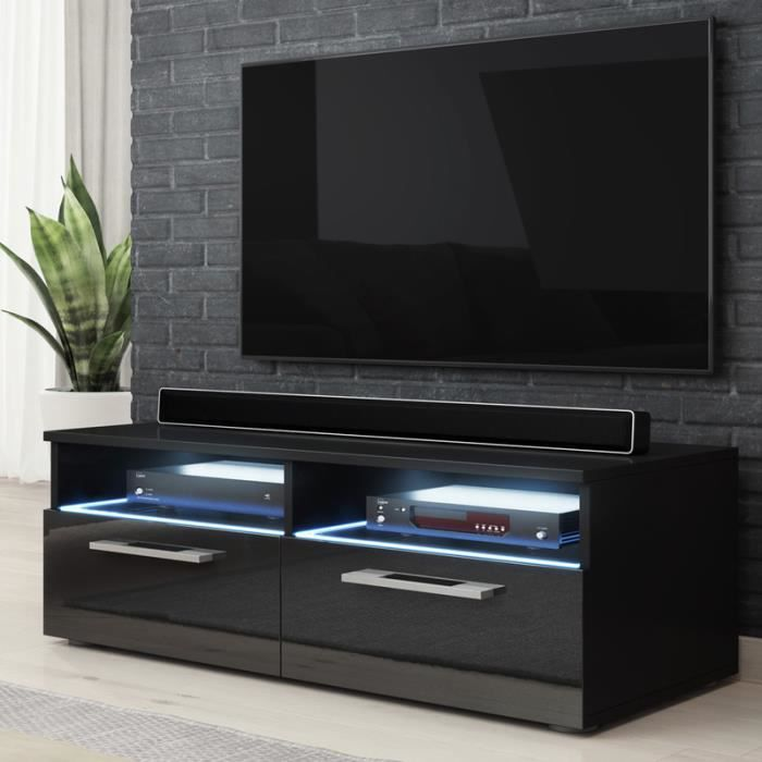 meuble tv meuble salon silver 100 cm noir mat noir brillant avec led bleue style. Black Bedroom Furniture Sets. Home Design Ideas