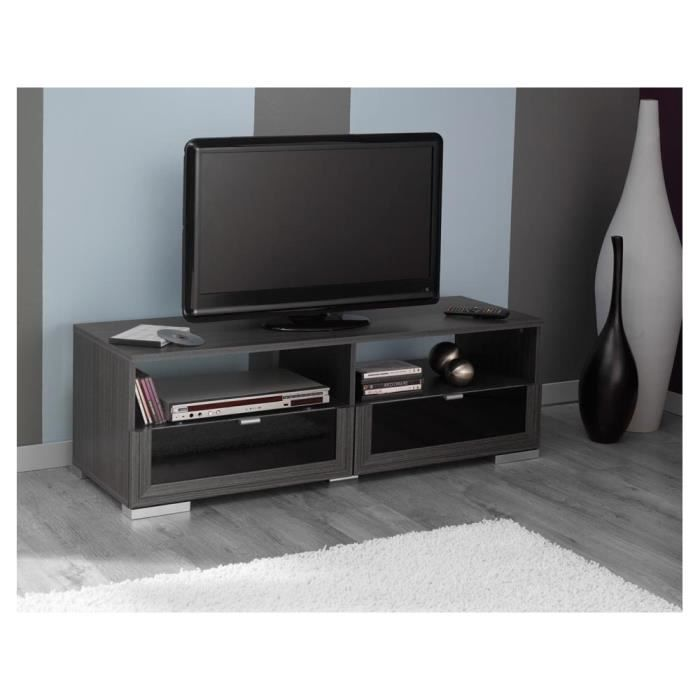 Banc tv knok en ch ne 2 tiroirs et 2 niches achat for Banc tv chene
