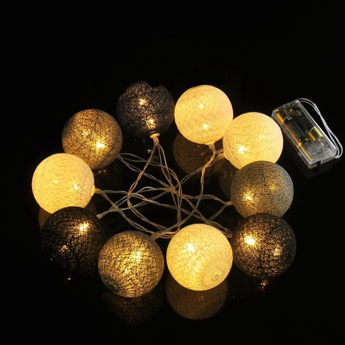 guirlande lumineuse 10 boules led boule de cordes lumi res no l mariage f te d coration achat. Black Bedroom Furniture Sets. Home Design Ideas