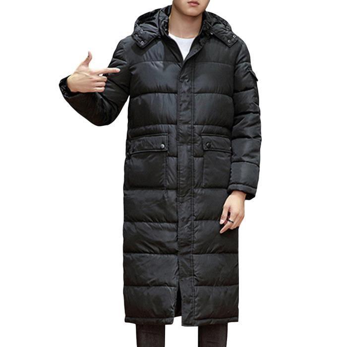 Doudoune à capuche homme longue épaissi casual chaud manteau