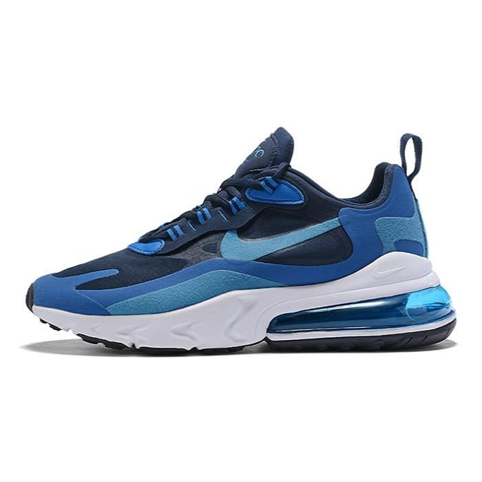 Nike Air Max 270 React Foncé Bleu Blanc Chaussures De Course. Bleu ...