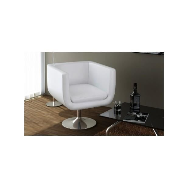 superbe fauteuil design club blanc achat vente fauteuil blanc cdiscount. Black Bedroom Furniture Sets. Home Design Ideas