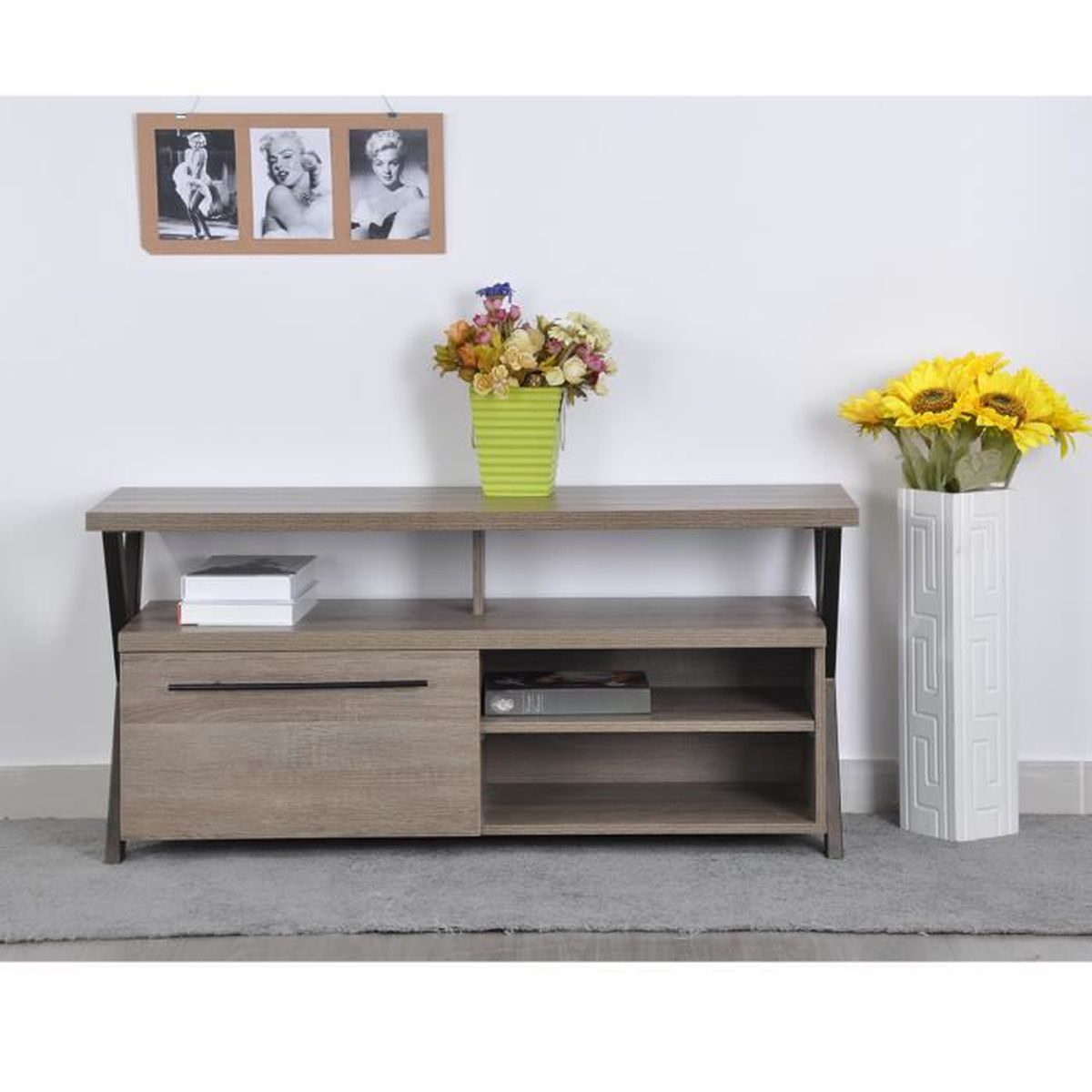 console meuble tv r tro design pour 50 meuble de t l vision avec tiroirs en bois gris achat. Black Bedroom Furniture Sets. Home Design Ideas