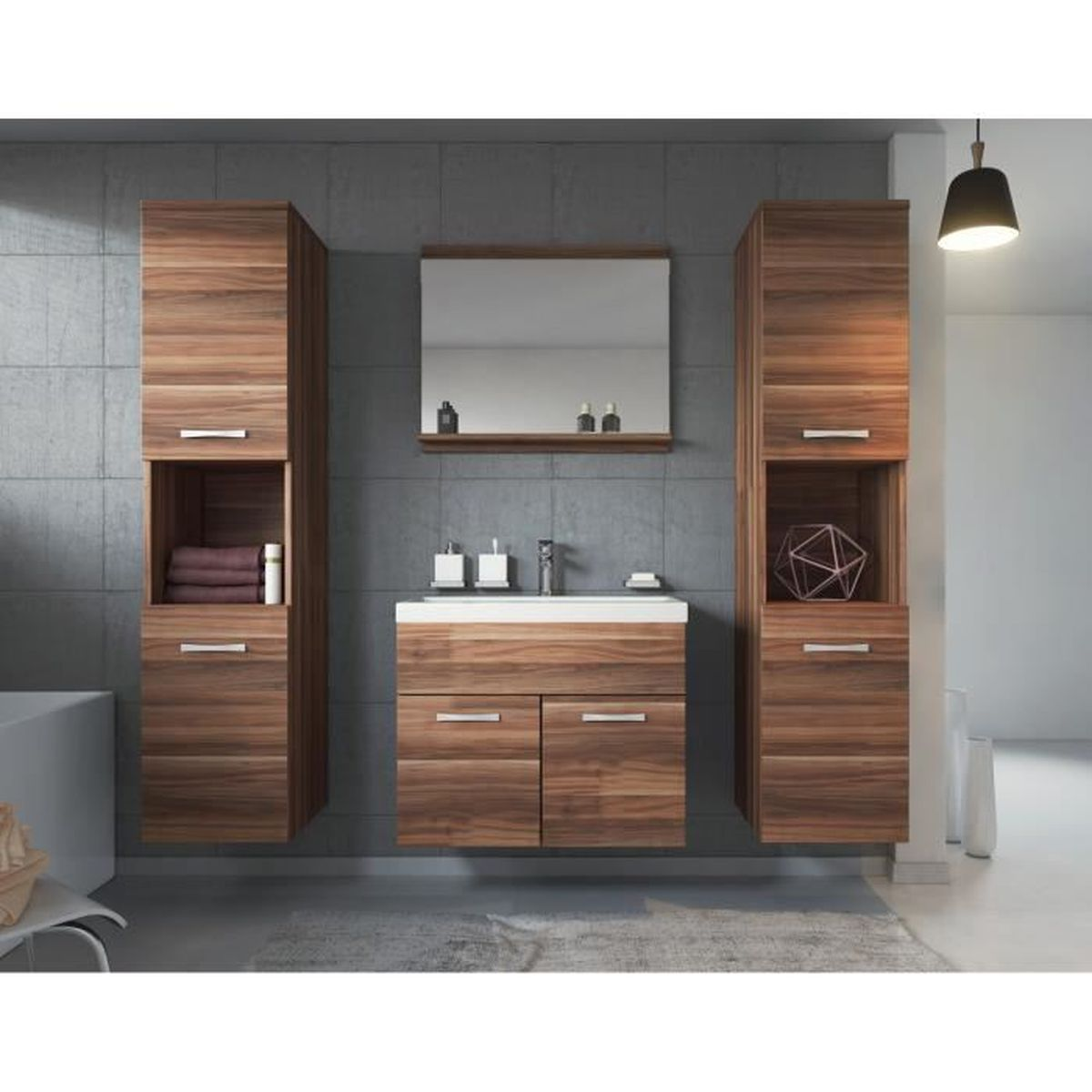 meuble de salle de bain de montr al xl 60 cm bassin en bois noyer armoire de rangement meuble. Black Bedroom Furniture Sets. Home Design Ideas
