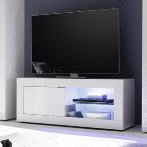 MEUBLE TV Meuble tv 140 cm blanc laqué design FOCIA 2  Sans