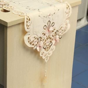 FOND DE STUDIO Chemin De Table Fleurs Feuille Broderie en Polyest
