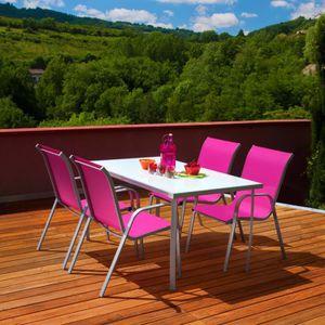 Salon de jardin 140cm metal+ verre 4 fauteuils ros - Achat ...
