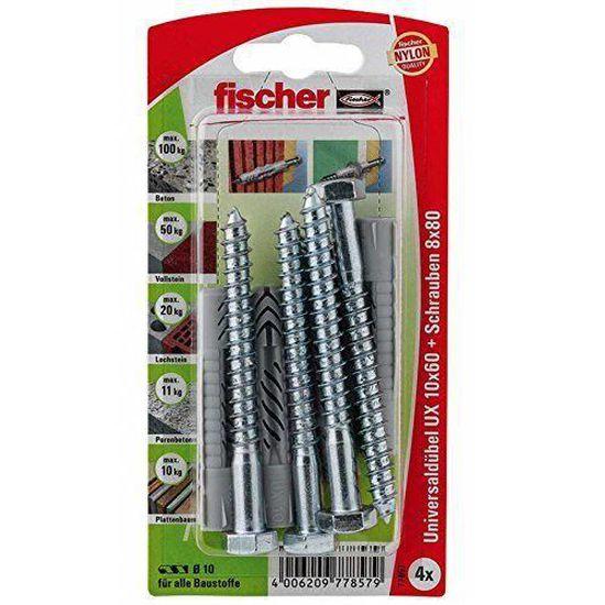 Fischer 657470 Power-Fast Lot de 25 Vis /à t/ête frais/ée 5,0 x 60 mm A2 TG PZ