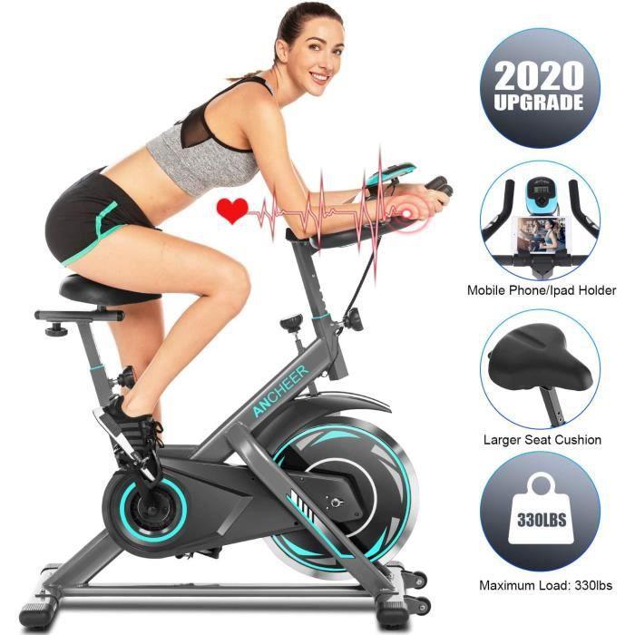 Vélo d'Appartement avec Écran LCD/Résistance Réglable/Poignée d'Impulsion, Vélo Biking Charge Max150KG Volant d'inertie 13KG