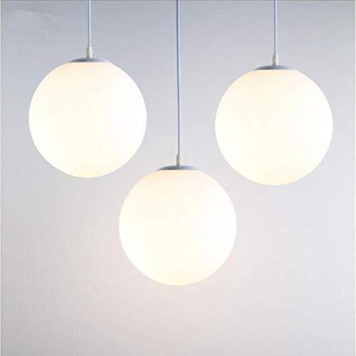 Lampe Suspension Moderne en Verre Brillant Blanc 25 CM Lustre Boule en Verre Moderne Mode LED Luminaire