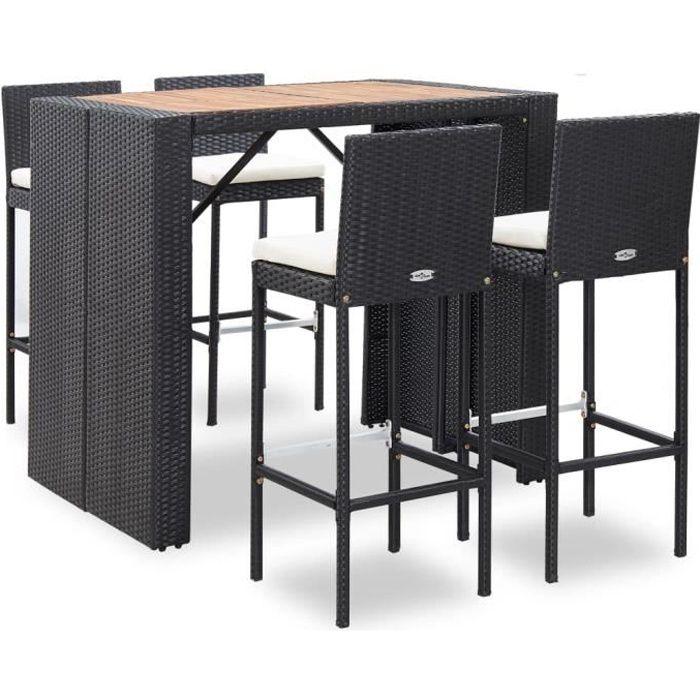 Ensemble table de bar 5 pcs Résine tressée et bois d'acacia Noir -QUT