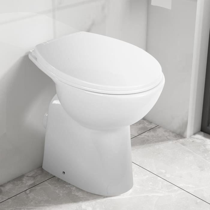 Toilette Wc haute sans bord fermeture douce 7 cm - WC Cuvette Céramique Blanc élégant ♫38900