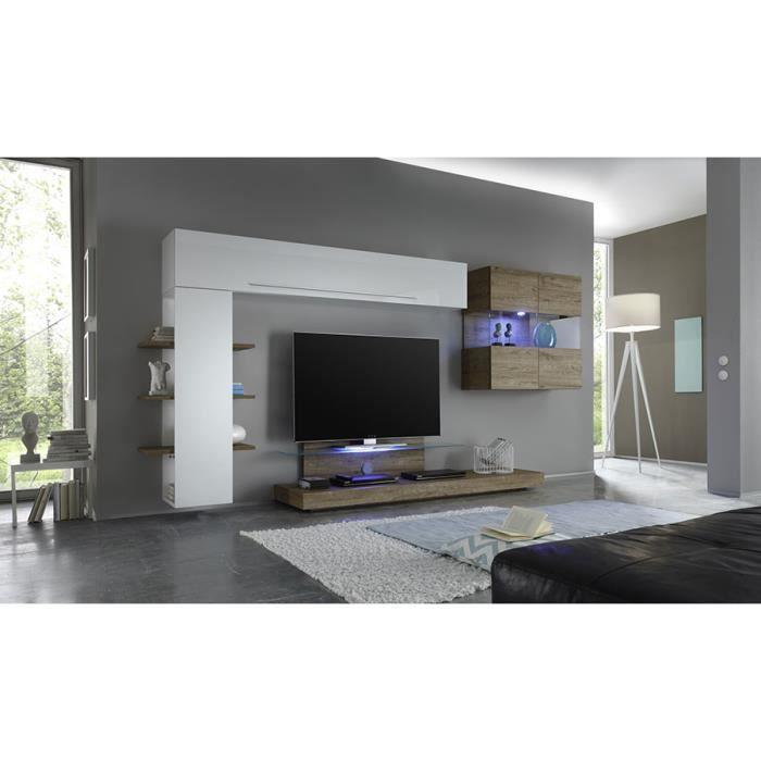 Ensemble meuble TV blanc laqué et chêne avec éclairage LED en option contemporain FELICIA Avec L 342 x P 50 x H 170 cm Blanc