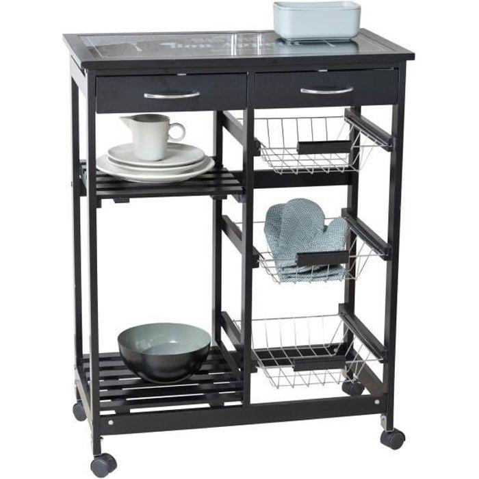 Desserte cuisine à roulettes, desserte noire, avec tiroirs, paniers, étagères et plateau planche à découper, Bon Appetit