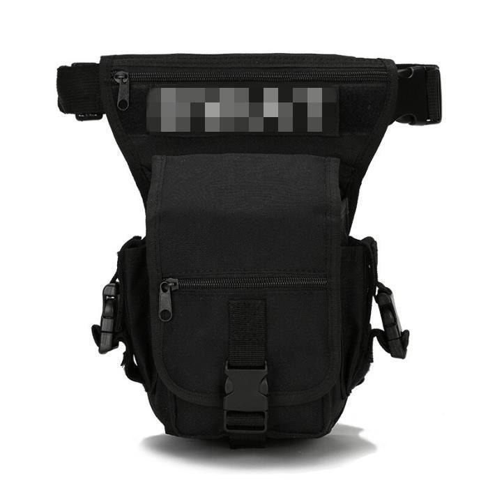Black -Sac de jambe tactique militaire 600D étanche oxford pour hommes, sac de taille tactique pour voyage, randonnée, chasse, cycli