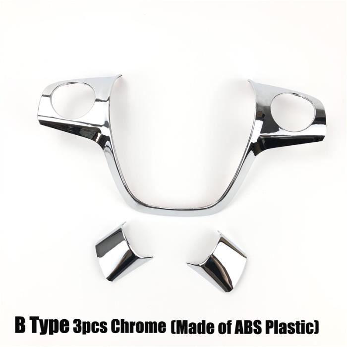 B Type Chrome 3pcs -Emaicoca – housse de revêtement de volant en ABS chromé, autocollant pour Ford Focus 3 mk3 2012 – 2014- Kuga 201