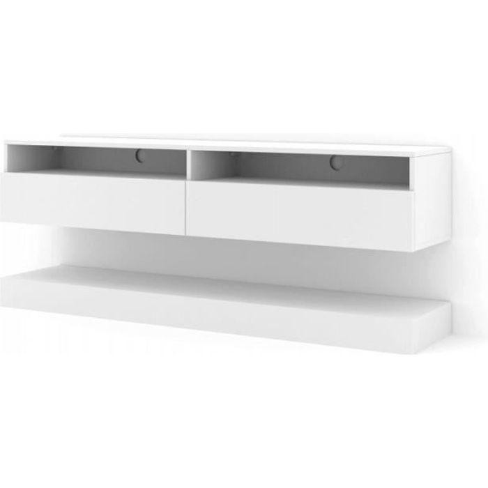 Meuble TV Duo 160 cm suspendu blanc mat sideboeard