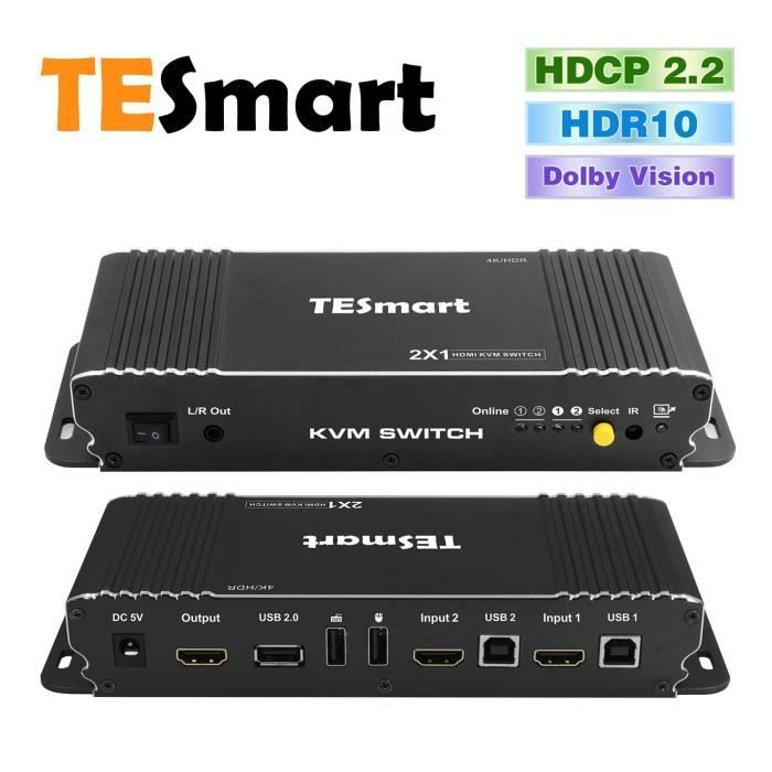 TESmart 2x1 Commutateur KVM HDMI 4K 3840x2160@60Hz 4:4:4 avec 2 Câbles KVM 5ft-1.5m Supportant Le Contrôle des Périphériques USB