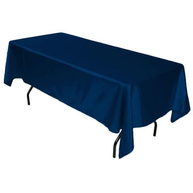 bleu marin Nappe en satin blanc-noir, rectangulaire, à double bord, cousue, pour la décoration de mariage, de