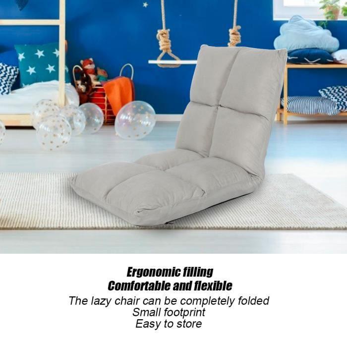 Canapé paresseux Lazy Sofa Lounger Floor Chair Indoor Dossier haut Gaming Soft Cushion 5 Level Réglable (Gris) HB009 -JIL